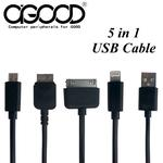 【A-GOOD】USB TO Note3/Micro/Samsung/iPhone5/iPhone4s 五合一快速充電線