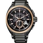 【CITIZEN Eco-Drive】鈦金屬五局電波男錶-IP黑(BY0029-54E)