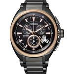 【CITIZEN Eco-Drive】鈦金屬五局電波男錶-IP黑 (BY0029-54E)