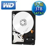 《5入組》WD威騰 Red 3TB 3.5吋 SATA3紅標硬碟(WD30EFRX)