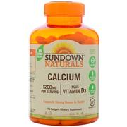 Sundown Naturals, Calcium Plus Vitamin D3, 1200 mg, 170 Softgels