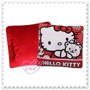 ♥小花花日本精品♥ Hello Kitty 愛心小熊蝴蝶結 靠枕 暖手抱枕 40周年12312702 (7.1折)