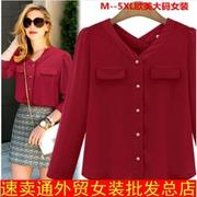 women tops plus size long sleeves red clothes shirts blouse【MAX嚴選】(大尺碼雪紡衫大尺寸上衣)