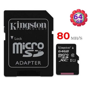 Kingston MicroSDHC Read : 80MB/s (SDC10G2)記憶卡連SD Adapter 64GB 香港行貨