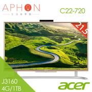 【Aphon生活美學館】Acer C22-720 21.5吋All in one 液晶電腦 (J3160 /4G/1TB/Win10)-送acer花苗滾珠按摩器+acer馬克杯