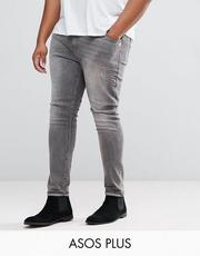 ASOS PLUS Super Skinny Jeans In Gray With Abrasions