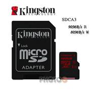 【代理商公司貨】600X Kingston SDCA3  microSDXC / SD 128GB 128G  class 10 UHS-I  U3 讀90mb/S 寫80mb/s 4K 錄影 Gopro  終身保固 (郵寄免運費)
