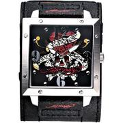 (Ed Hardy)Love Kills Slowly寬版仿舊皮帶錶