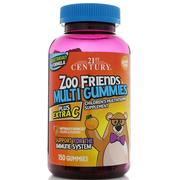 [iHerb] 21st Century, Zoo Friends Multi Gummies, Plus Extra C, 150 Gummies