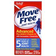 Schiff, Schiff, Move Free Advanced Plus MSM & Vitamin D3 Joint Health Tablet, 80 Tablets