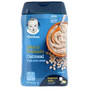[iHerb] [iHerb] Gerber DHA & Probiotic, Single Grain Oatmeal Cereal, Supported Sitter, 1st Foods, 8 oz (227 g)