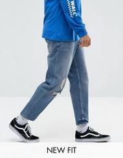 ASOS Skater Jeans In Mid Wash Blue With Abrasions