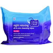 [iHerb] Clean & Clear, Night Relaxing, All-In-One Cleansing Wipes, 25 Wipes