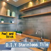 ★New Arrival★ Ver Block Stainless Steel D.I.Y Interior Tile Pack of 1 / Peel and Stick