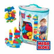 費雪 Fisher-Price MEGA BLOKS 美高80片積木袋(藍)
