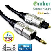 amber S/PDIF Optical Digital Audio Cable光纖數位音訊傳輸線_mini Toslink(3.5mm)對Toslink-1M