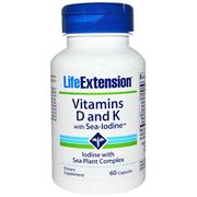 Life Extension, Vitamins D and K, with Sea-Iodine, 60 Capsules