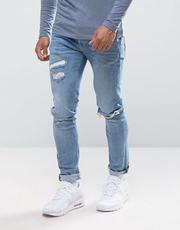River Island Skinny Jeans With Abrasions In Light Wash