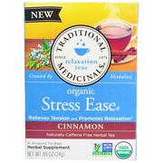 [iHerb] Traditional Medicinals, Relaxation Teas, Stress Ease, Organic, Naturally Caffeine Free, Cinnamon, 16 Wrapped Tea Bags, .85 oz (24 g)