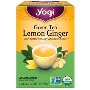 [iHerb] Yogi Tea, Organic Green Tea, Lemon Ginger, 16 Tea Bags, 1.12 oz (32 g)