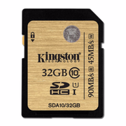 Kingston SDHC R:90MB/s (SDA10)U1 記憶卡 32GB 香港行貨
