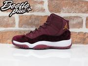 女生 BEETLE PLUS 全新 限量 NIKE AIR JORDAN 11 RETRO GG 酒紅 絨布 雕花 絲絨 籃球鞋 852625-650 D-659