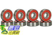 [106美國直購] CJESLNA ABEC 9 Bearings Skateboard Deck Longboard Red Silver 1 set of 8 (101005003128)