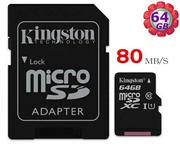 KINGSTON 64GB 64G microSDXC 【80MB/s】microSD micro SDXC SD TF U1 C10 Class10 金士頓 手機記憶卡