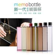 新一代 Memo Bottle A5 420ML 創意扁平水壺/不占空間/隨行瓶/書本造型/透明
