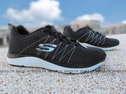 Shoestw【12224BKW】SKECHERS 健走鞋 Relaxed Fit 黑白 線條 透氣 記憶鞋墊