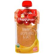 [iHerb] Happy Family Organics Organic Baby Food, Stage 2, Clearly Crafted, 6+ Months, Bananas, Raspberries & Oats, 4 oz (113 g)