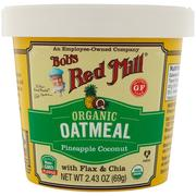 [iHerb] Bob's Red Mill, Organic Oatmeal Cup, Pineapple Coconut with Flax & Chia, 2.43 oz (69 g)
