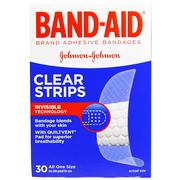 Band Aid, Adhesive Bandages, Clear Strips, 30 Bandages