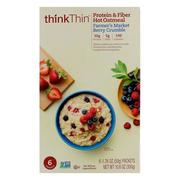 [iHerb] ThinkThin, Protein & Fiber Hot Oatmeal, Farmer's Market Berry Crumble, 6 Packets, 1.76 oz (50g ) Each