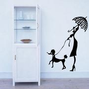 Art STICKER璧貼 ● Woman and dog walking