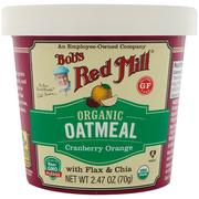 [iHerb] Bob's Red Mill, Organic Oatmeal Cup, Cranberry Orange with Flax & Chia, 2.47 (70 g)
