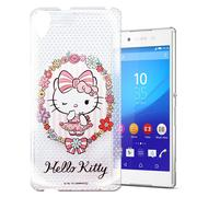 【三麗鷗 Hello Kitty】Sony Xperia Z5 Premium 透明 手機殼(花邊Kitty)