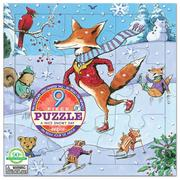 [ eeBoo ]  拼圖 —  滑冰樂 9片  (Nice Snowy Day 9 Piece Puzzle)