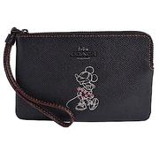 COACH x DISNEY聯名款 MINNIE MOUSE拉鍊手拿包-黑