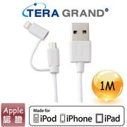 【1M】Tera Grand Apple認證8Pin+USB傳輸線-白(APL-WI071-WH)