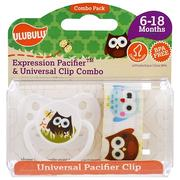 [iHerb] [iHerb] Ulubulu Expression Pacifiers & Universal Clip Combo, Owl, 6-18 Months , 2 Pieces