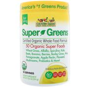 [iHerb] Country Farms, Super Greens, Certified Organice Whole Food Formula, Delicious Apple Banana Flavor, 10.6 oz (300 g)