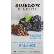 Bigelow, Benefits, Balance, Cinnamon & Blackberry Herbal Tea, 18 Tea Bags, 1.39 oz (39 g)
