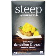 [iHerb] Bigelow, Steep, Organic Dandelion & Peach, Rooibos & Green Tea, 20 Tea Bags, 1.18 oz (33 g)