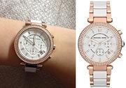 【Cadiz】美國真品正品 Michael Kors 玫瑰金白色錶盤 [MK5774/ White and Rose Gold-Tone/ 代購/ 現貨]