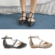 Lovely Strap Flat Shoes ★ T-shaped slim strap makes the ankle look thinner ★ Softton