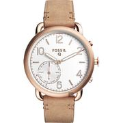 FOSSIL Q Tailor 智慧型多功能腕錶-銀x卡其/40mm FTW1129