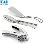 Kai Select 100 Best 3kinds Set/Fish Scaler+Stainless Steel Turner+Garlic Press/Value of 100 years Japanese knife maker N01 KAI/Kitchen Gift Item/Home Party/Cooking utensil