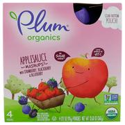 [iHerb] Plum Organics, Organic Applesauce Mashups with Strawberry, Blackberry & Blueberry , 4 Pouches, 3.17 oz (90 g) Each