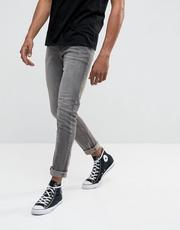 ASOS Skinny Jeans In Dark Gray With Abrasions